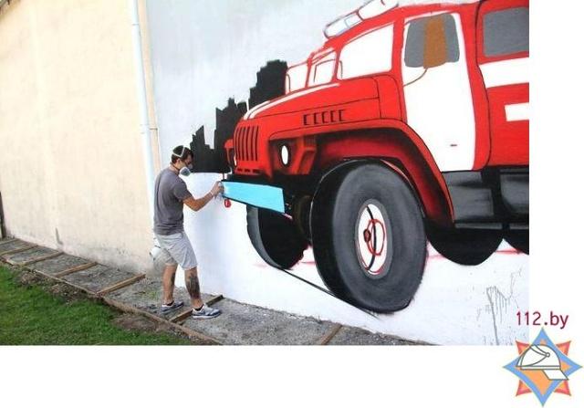 пожарная машина-граффити -