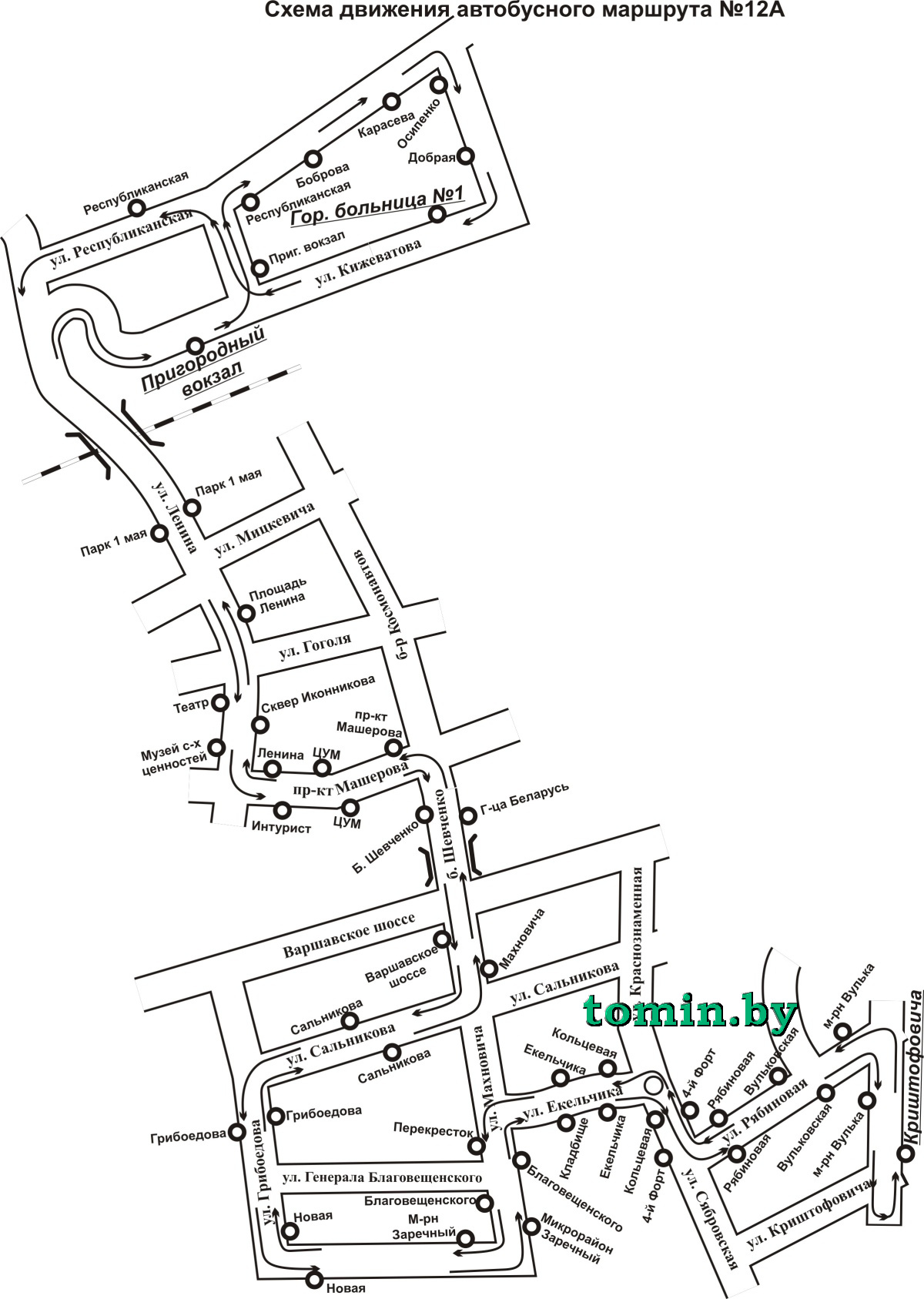схема движений автобусов в бресте